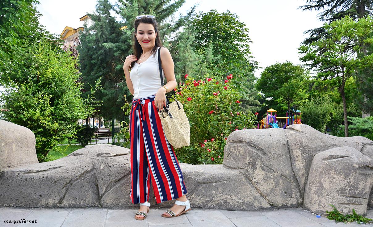 Yazlık Çizgili Pantolon Kombini
