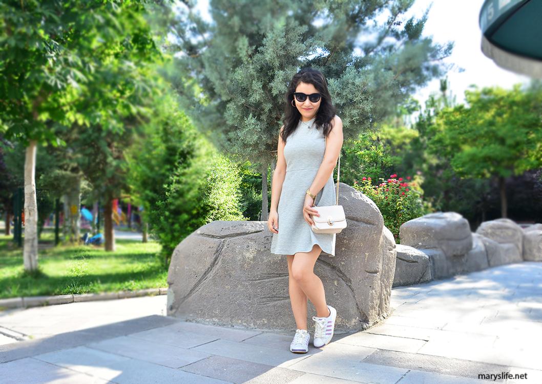 Yazlık Gri Elbise Kombini