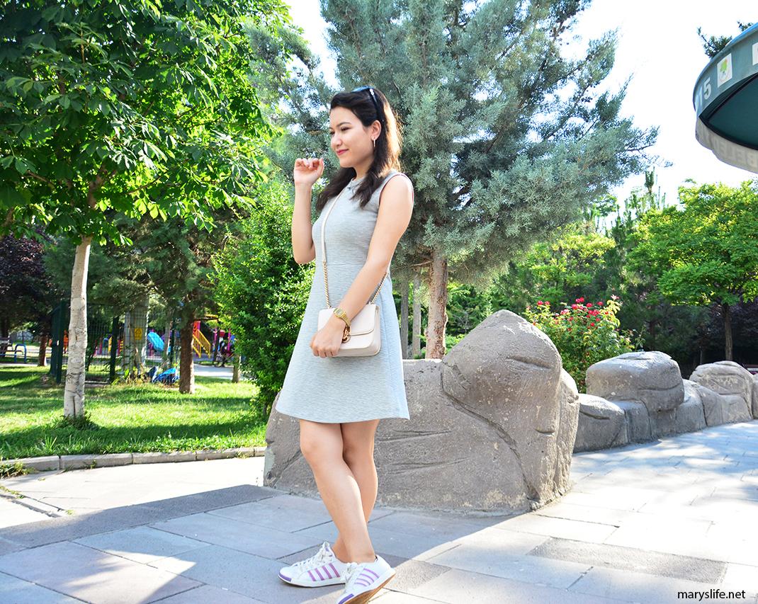Gri Mini Elbise Kombini