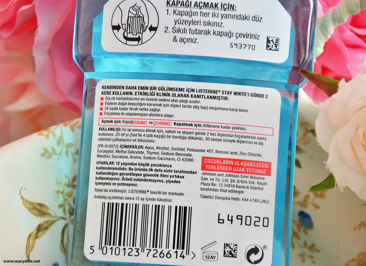 Listerine Stay White Ağız Bakım Suyu İçeriği