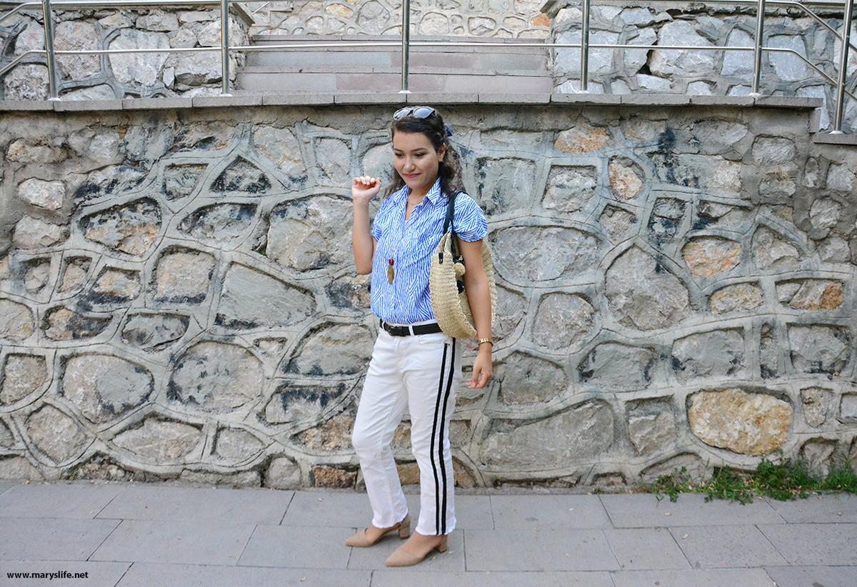 Yanları Şeritli Pantolon Kombinleri