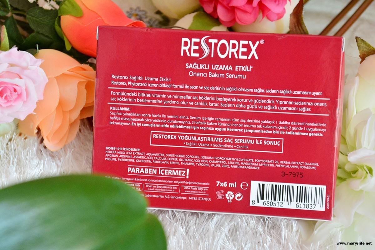 Restorex Sağlıklı Uzama Etkili Onarıcı Bakım Serumu İçeriği