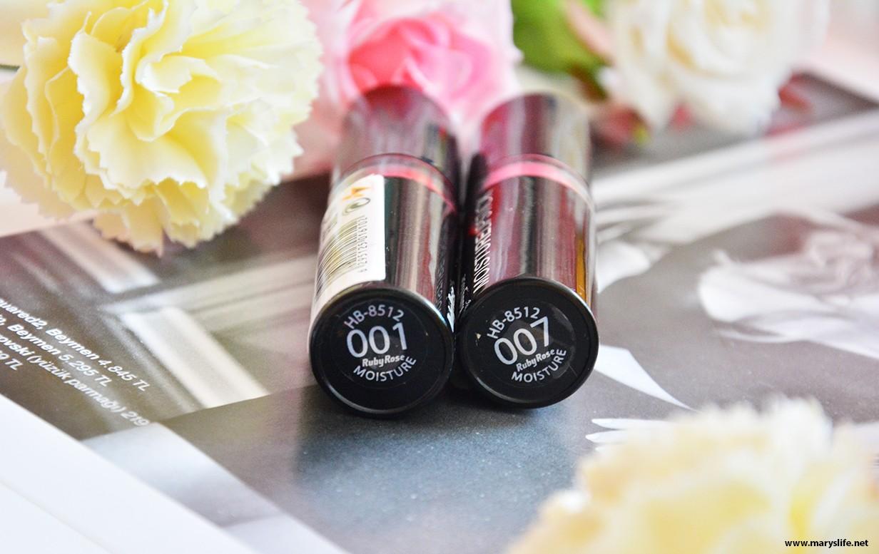 Ruby Rose Moisture Lipstick 001 ve 007 Rujları İnceleme