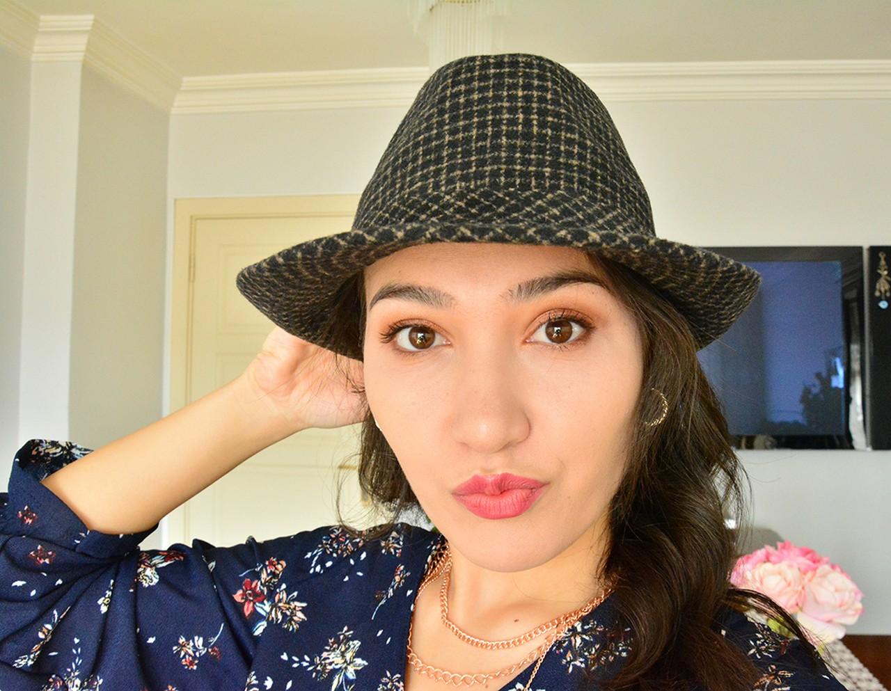 Fötr Şapka Bayan Siyah Kareli