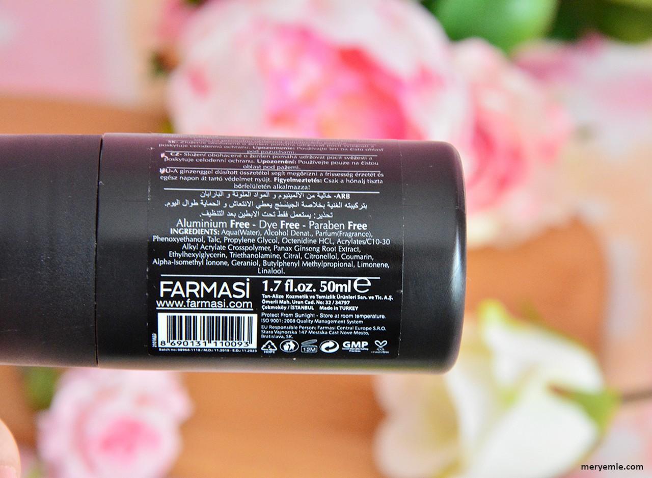 Farmasi Men Roll On Deodorant İçindekiler
