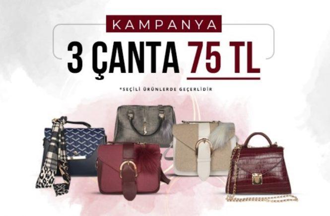 3 Kadın Çantası 75 TL Kampanya