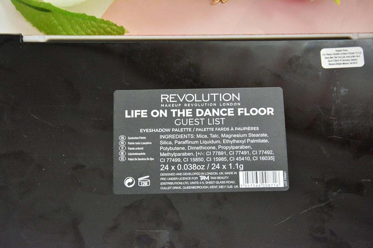 Makeup Revolution Life On The Dance Floor Guest List Far Paleti İçindekiler